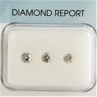 3 pcs Diamonds - 0.31 ct - Brilliant - H, I - I1