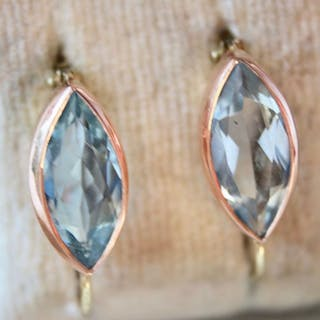 14 kt. Pink gold, Yellow gold - Earrings - 1.96 ct Aquamarine
