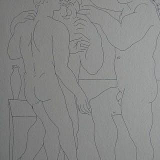 Pablo Picasso ( 1881, 1973 ) - Deux Hommes Sculptés