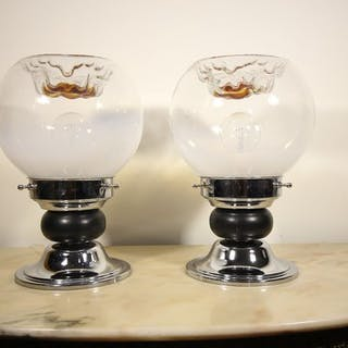 Pair of table lamps in glass and steel