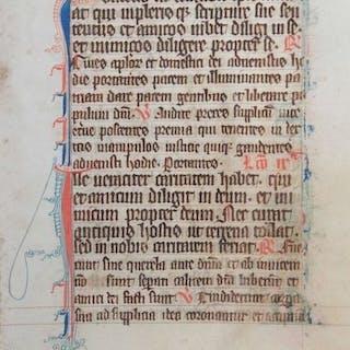 Manuscript - Origineel blad uit een handschrift - ca. - 1350