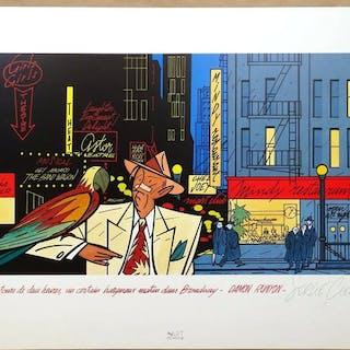 Serge Clerc - Estampe Art Moderne - Damon Runyon - (1990)