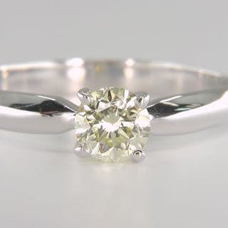 14 kt. White gold - Ring - Clarity enhanced 0.63 ct...