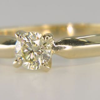 14 kt. Yellow gold - Ring - Clarity enhanced 0.46 ct...