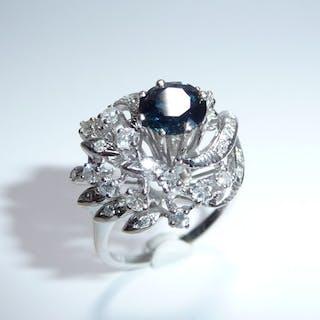 18 kt. White gold - 70s Design Ring - Handmade - 750 / 18K - 1.0 ct