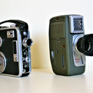 Twee Retro film camera`s Meopta Admira 8D 8mm en Konica zoom 8