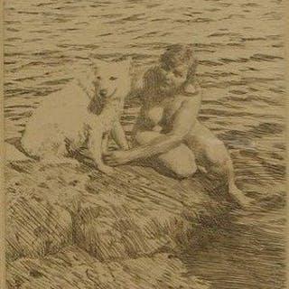 "Twee etsen van Anders Zorn (1860-1920) - ""The swan"" + ""Sappho"""