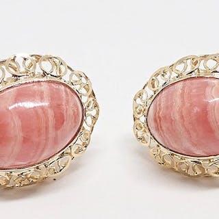 18 kt. Yellow gold - Earrings Rhodochrosite
