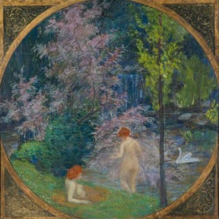 André Eugène Costilhes (1865-1940) - Baigneuses dans une clairière