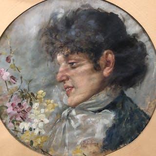 """Postiglione Salvatore (1861 - 1906) - Volto di donna """"tamburella"""""""