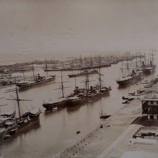 C et G. Zangaki (XIX) - 2 Vues de l'entrée du canal de Suez, Port Saïd, Egypte