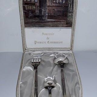 Couvert, und Dessertlöffel (Besteckset) - Stark plattiert...