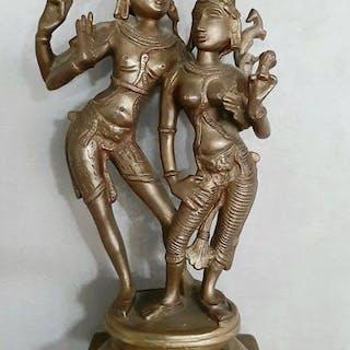 Skulptur - Bronze - Shiva und Parvati - Indien - Zweite Hälfte des 20