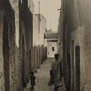 Non identifié (XIX) - Homme et enfant dans la casbah d'Ouargla, sud algérien