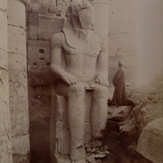 C & G.Zangaki (XIX) - 2 clichés des statues de Ramses, Egypte