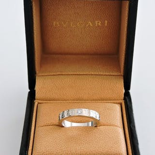 BULGARI- BVLGARI BVLGARI 18 kt white gold ring set with a diamond - 18 kt