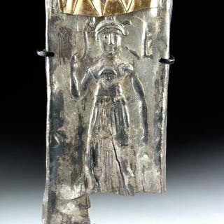 Ancient Roman Silver and Gold panel with rare Depiction...