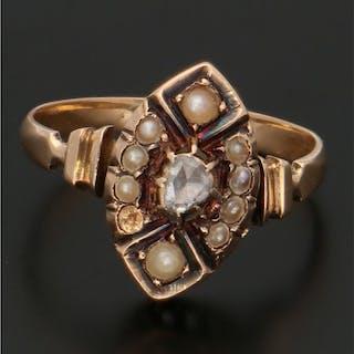 14 kt Roségold - Ring Diamant - Rocailles