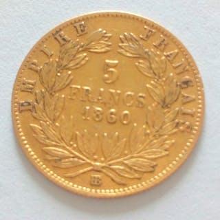 Frankreich - 5 Francs 1860-BB Napoléon III - Gold