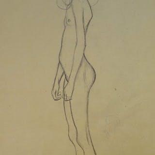 Naar Gustav Klimt- Nude girl