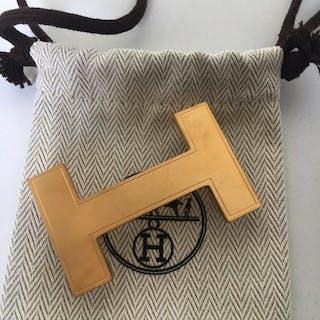 """Hermès - Boucle de ceinture Constance """"Quizz"""" en métal doré brossé Belt"""