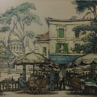 Marcel Julien Baron (1872-1956) - Parijs, Café en Sacré-Coeur