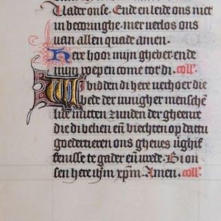 Manuscript; Pagina uit een Nederlands getijdenboek - ca. 1450