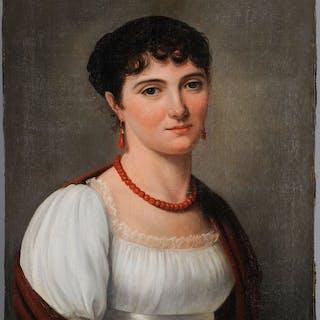 Ecole française vers 1810 - Portrait de jeune femme aux bijoux de corail