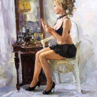 Vladimir Goussev né en 1957 - Beauty by a mirror