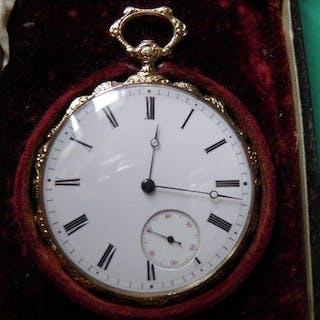 montre gousset finement gravée- Herren - 1850-1900