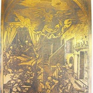 Albrecht Durer - Birth of the Virgin - Print plate matrix...