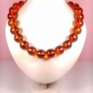 Cognac colour round beads Baltischer Bernstein - Halskette