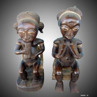 Statue(s) (2) - Wood - Baoulé - Côte d'Ivoire