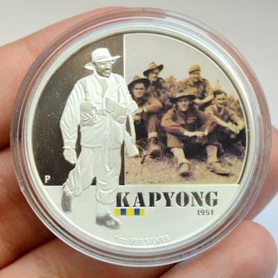 Australien - 1 Dollar 2012 Kapyong 1951, colored - 1 Oz