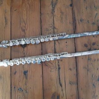 Aurora + First Brass- 2 x Vintage Flute /Dwarsfluit - Flöte - Frankreich