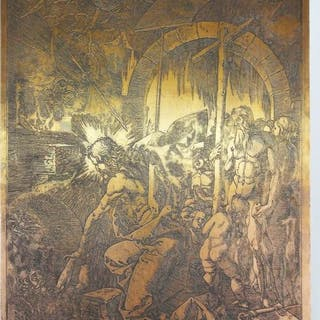 Albrecht Durer - Christ in limbo - Print plate matrix (1)...