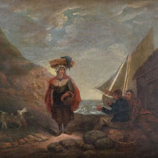 Attrib. George Morland (1763-1804) - A Coastal scene with fishermen and a woman