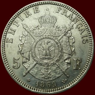 Frankreich - 5 Francs 1869-BB Napoleon III - Silber