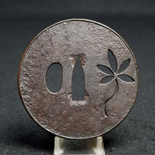 Large round tsuba with copper fukurin - iron - Japan - Edo Period (1600-1868)
