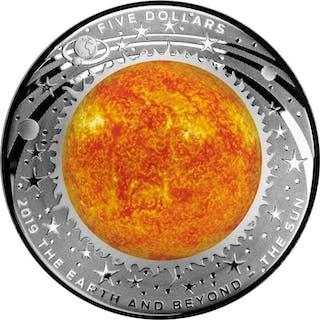 Australia - 5 Dollar 2019 Earth And Beyond - The Sun - Domed - 1 oz - Silver
