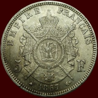Frankreich - 5 Francs 1867-A Napoleon III - Silber
