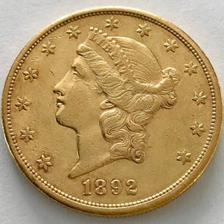 United States - 20 Dollar 1892 - Liberty Head - Gold