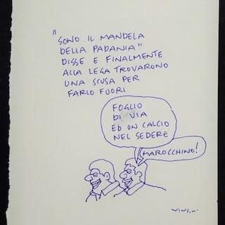 "Vincino- ""Sono il Mandela della Padania"" Vignetta Originale (Master Of Drawing)"