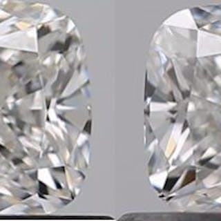 2 pcs Diamanten - 1.07 ct - Kissen - F - IF (makellos)