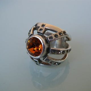 """Sterling Silber """"Halskrause"""" & Topas - Großer alter Ring"""