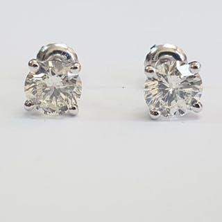 14 kt. White gold - Earrings - Clarity enhanced 2.04 ct Diamond