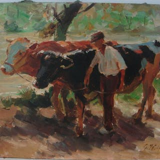 Georg Wolf (20th century) - Farmer with cows