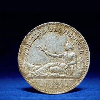 Spain - 1 Peseta 1869 gobierno provisionalSNM - Silver
