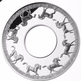 Niue - 2 Dollar 2014 Year of The Horse Rotating Coin - 2 Oz- Silver