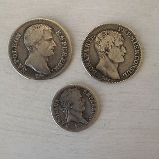 France - Lot of 3 coins (1/2 Franc 1811-B